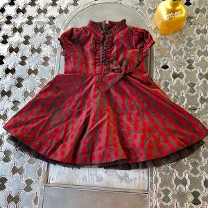 Baby Gap Checkered Ruffled Red and Brown Dress